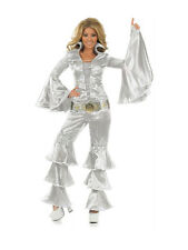 Adult Ladies Dancing Queen Silver Fancy Dress 70s ABBA Costume (UK Sizes 6 -22)