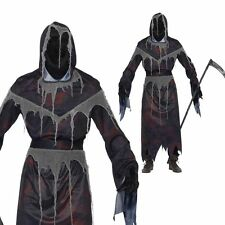 Mens Hooded Grim Reaper Costume PLUS Mask Halloween Death Fancy Dress Outfit