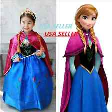NEW Frozen ANNA Princess Dress Disney Coronation Gown Costume * USA SELLER*