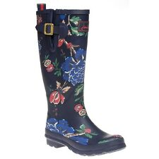 New Womens Joules Blue Welly Print Rubber Boots Floral Pull On