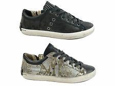 CRIME LONDON sneakers donna PELLE NERO BLACK GRIGIO SILVER CR2596B inverno 2015