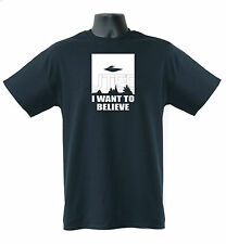 I Want To Believe Alien Slogan Funny  Mens Ladies T-Shirt S-XXL Size
