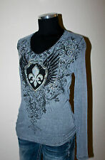 """NEW VOCAL SHIRT """"GRAY FLEUR WINGS THERMAL"""" PLUS SIZE 1X 2X 3X style *367"""