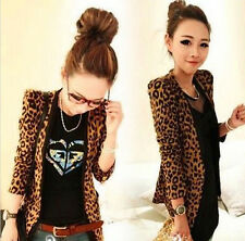 S/M/L/XL New Women Faux Suede Leopard Jacket Blazer With Shoulder Pad Outwear