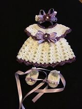 Crocheted Baby Outfit 3PC Dress Headband Ballerina Shoes  White/Purple Trim