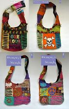 New Shoulder Body Cross Patchwork Bag with Peace Sign/Skull/One Love Embroidery