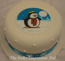 Christmas Cake Sugar Plaque, Snowman, Santa, Penguin & Ribbon Topper Pack