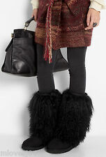 Ugg Sheepskin Cuff Tall Mongolian Boots Black New BNIB 3 4 5 6 7  36 37 38 39 40