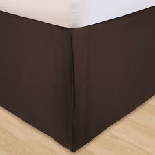 "1000TC Chocolate Solid Split Corner Tailored Bed Skirts 100%Cotton 8""-24"" Drops"