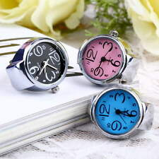 Perfect Fashion Womens Girls Steel Round Elastic Quartz Finger Ring Watch GT