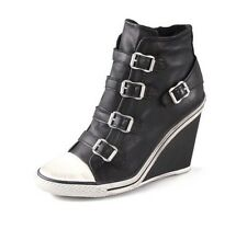 NEW ASH Thelma Black Bootie Women's Fashion High Top Ankle Wedge Sneaker Shoes