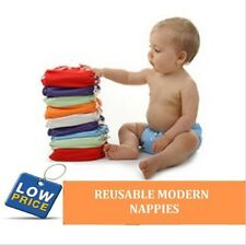 1 x New Reusable Modern Baby Cloth Nappies + 1 FREE Inserts One Size Fits All