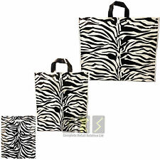 NEW STRONG PLASTIC CARRIER BAGS ZEBRA PRINTED STRONG HANDLE PACK OF 50