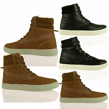 D1Y New Womens High Top Lace Up Trainers Fashion Ankle Boots Casual Ladies Shoes