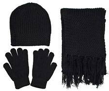 Unisex Casual Warm Beanie Gloves Scarf Knitted Hat Winter Gift Set