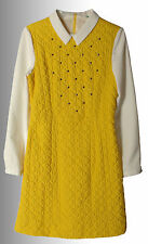 New girl's bright yellow white studs quilted long sleeve dress size 12-14