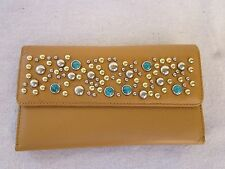 New Women's Genuine  Leather Studded Wallet &  Matching Checkbook Cover