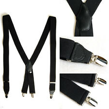 Mens New Elastic Suspenders Adjustable Braces X-Back 6 Colors 1.4inch Wide