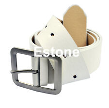 Fashion Hot Mens Leatherette Solid Premium Textured Metal Buckle Belt Waistband