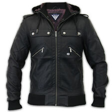 mens leather look jackets Threadbare coat winter military zip hooded lined