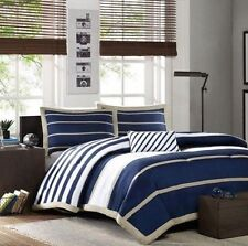 NAUTICAL STRIPE BLUE & WHITE 4-PC COMFORTER SET FULL/QUEEN TWIN NEW