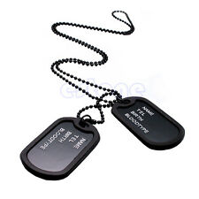 NEW Military Army Style Black 2 Dog Tags Chain Mens Pendant Necklace W/Tracking