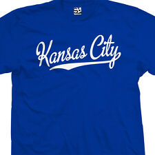Kansas City Script & Tail T-Shirt - KC Baseball Cursive KCK - All Sizes & Colors