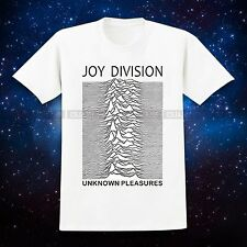White Unisex Tee JOY DIVISION UNKNOWN PLEASURES Punk IAN CURTIS Rock Roll Band T