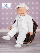 Baby Boy Christening Pageboy Formal Smart Suit Hat Outfit Waistcoat White 0-18M