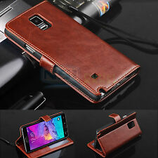 For Samsung Galaxy Note 4 N910 Genuine Real Leather Folio Flip Wallet Case Cover