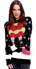 Womens Elf Body Print Xmas Jumper Ladies Christmas Sweater Top UK 8-14