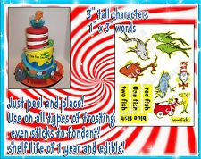 Dr. Seuss Cake stickers characters tiered fondant ideas toppers paper edible