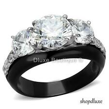 4.45 Ct Round Cut AAA CZ Black Stainless Steel Engagement Ring Women's Size 5-10