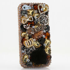 iPhone 6 6S / 6S Plus 5S Bling Crystals Case Cover Leopard Gold Crown Queen