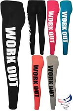 New Womens Work Out Print Ladies Full Length Long Stretch Leggings Pants 8-14