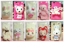 Lovely 3D Cartoon Plush Doll Toy Case Cover Skin For Huawei Mobile Phones
