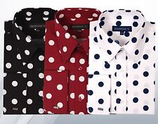 Men's 100% Cotton  Big Polka Dot Design Spread Collar Dress Shirt