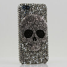 iPhone 6 6S / 6S Plus 5S Bling Crystals Case Cover Grey Black Large Skull Design