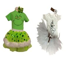 Sparkle Grinch Olaf Frozen Christmas Neon Tutu Set Girls Baby Fancy Dress Kids