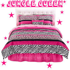 JUNGLE Chic Teen Girls PiNK BLACK WHITE ZEBRA Stripe COMFORTER Bed~In~A~Bag Set