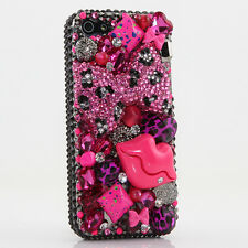 iPhone 6 6S / 6S Plus 5S Bling Crystals Case Cover Black Pink Leopard Bow Kiss