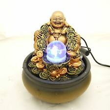 Table Top Indoor Buddha Water Feature with Spinning Ball Pump Coloured LED Light