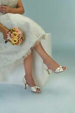 Dyeable White Satin Rhinestone Dixie Bridal Bridesmaid Prom Kitten Heel  Shoe