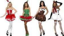 Womens Sexy Saucy Pud Elf Santa Snowman Dress Christmas themed fancy dress party