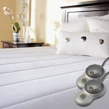 NEW Heated Electric Mattress Pad Sunbeam Quilted Striped Twin Full Queen King
