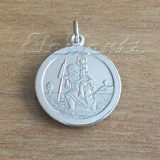 19mm 925 STERLING SILVER ST CHRISTOPHER PENDANT TRACE CURB BELCHER FIGARO CHAIN