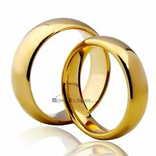 8/7/6/5mm Tungsten Carbide Gold Ring High Polished Comfort-Fit Wedding Band 007