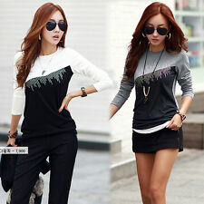 Sexy Womens Ladies Long Sleeve Casual Lace Cotton T-Shirt Blouse Tops Size 6-14