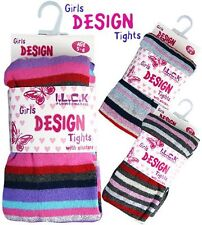 Girls Cotton Rich Knitted Striped Winter  Fancy  Design Tights NEW