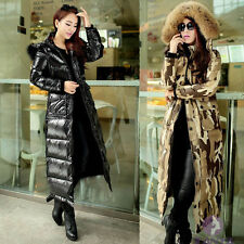 New Womens Winter Duck Down Jacket fur Hooded Slim Thicken Long Coat Plus Size